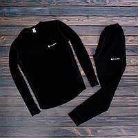 Мужской зимний спортивный костюм с флисом Columbia черный Реплика