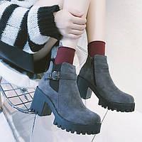 Серый ботинки с ремешком на тракторной подошве, фото 1