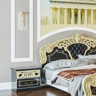 Тумбочка приліжкова з ДСП/МДФ в спальню Кармен Нова Люкс чоринй лак Світ Меблів