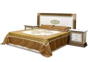 Ліжко з ДСП/МДФ в спальню 2-сп (б/матрасу та каркаса) з м`яким бильцем Софія Люкс біле Світ Меблів