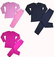 Розовый тренировочный комплект футболка с длинным рукавом леггинсы Faro Giardino. Термобелье детское