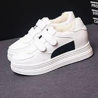 Зимние кроссовки на липучках белый + черный, фото 1