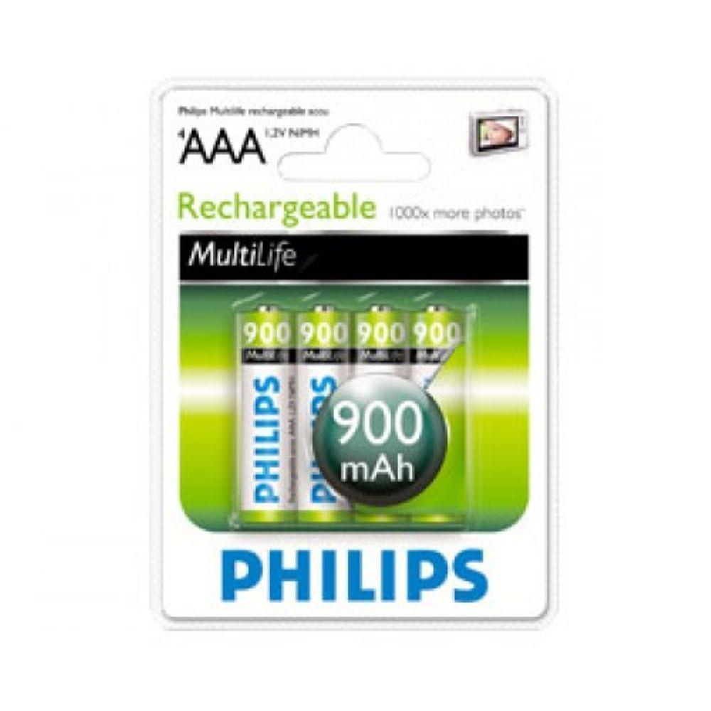 4шт Аккумулятор мизинчик Philips AAA 900 mAh