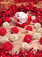 """Светодиодная новогодняя гирлянда на батарейках из шариков ротанга """"Роскошная"""". Диаметр шарика - 5 см., фото 1"""