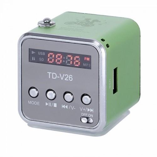 Мини портативная MP3 колонка от USB FM TDV26 Olive