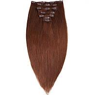 Волосы на заколках 50 см 160 грамм. Цвет #04 Шоколад, фото 1