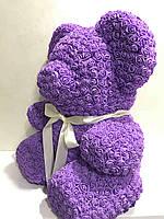 Мишка из роз фиолетовый 40 см, фото 3