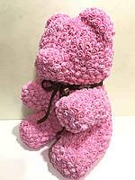Мишка из роз розовый 40 см, фото 2