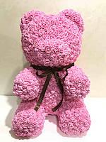 Мишка из роз розовый 40 см, фото 3