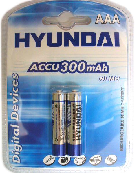2шт Аккумулятор мизинчик Hyundai AAA 300 mAh