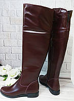 Женские бордовые ботфорты оптом, фото 1