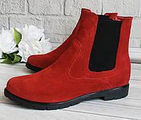 Жіночі черевики челсі червоного кольору, фото 1