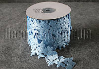 Атласный голубой цветок 5 см  на катушке 20 м