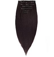 Волосы на заколках 40 см. Цвет #1В Черный натуральный, фото 1