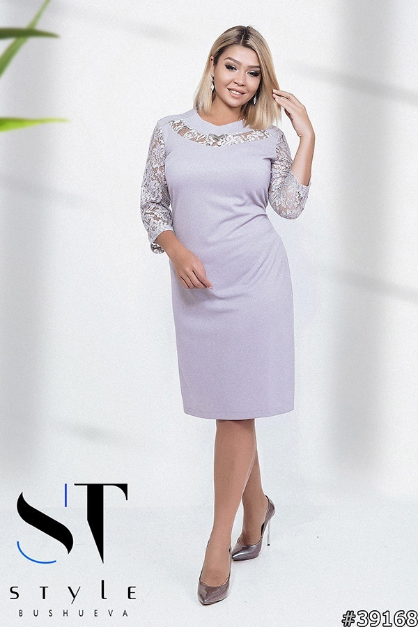 91c58022c3f Женское трикотажное платье с кружевной отделкой - Одежда оптом и в розницу  от прямого поставщика