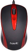 USB проводная оптическая мышка Havit HVMS675 Red