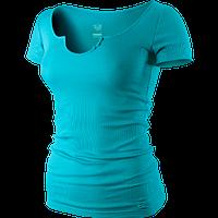 Футболка спортивная женская nike SS RIBBED TEE 419646 442 (бирюзовый, хлопок, на каждый день, логотип найк)
