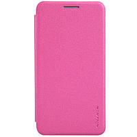 Кожаный чехол книжка Nillkin Sparkle для Samsung Galaxy A3 A300 розовый, фото 1