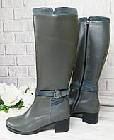 Серые кожаные сапоги на толстом каблуке, фото 1