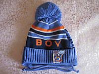 """Детская весенняя шапка для мальчика """"boy"""" на завязках"""