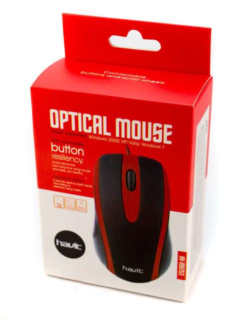 USB провідна мишка оптична миша Havit HV-MS753 Red