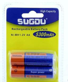 2шт пальчикові акумулятори R06 Sugdu AA 5300 mAh GLA04