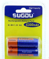 2шт аккумуляторы пальчиковые R06 Sugdu AA 5300 mAh GLA04