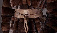 Пояс-кушак кожаный широкий, коричневый.