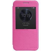 Кожаный чехол книжка Nillkin Sparkle для Huawei Ascend G7 розовый, фото 1