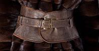 Пояс- корсет кожаный широкий, коричневый.