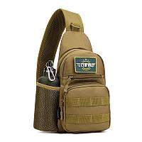 Тактическая военная сумка рюкзак EDC однолямочный Protector Plus X216 Coyote, фото 1
