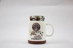 Чашка керамічна кружка Starbucks з кришкою SH 025-1 Brown