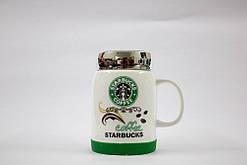 Чашка керамічна кружка Starbucks з кришкою SH 025-1 Green