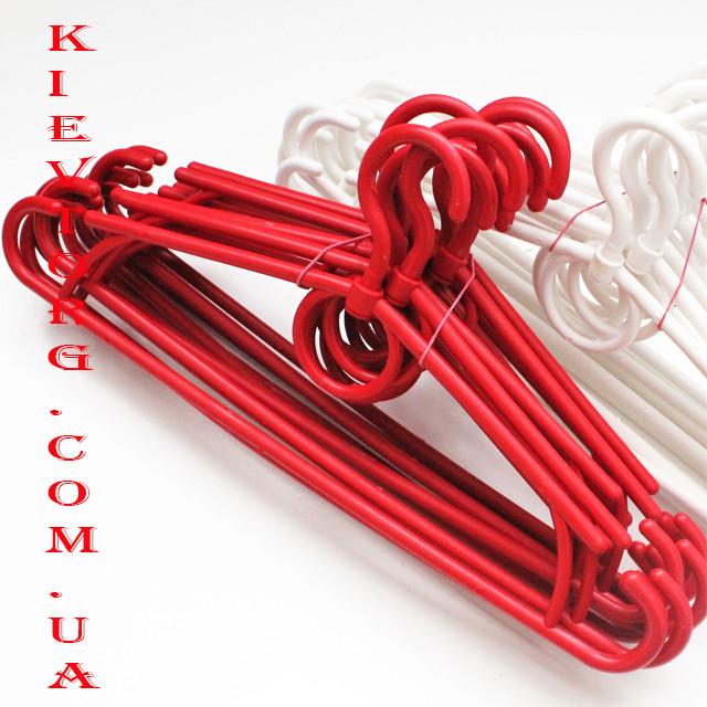 Вешалки плечики пластмассовые усиленные красные для одежды в шкаф, 42 см, 10 шт