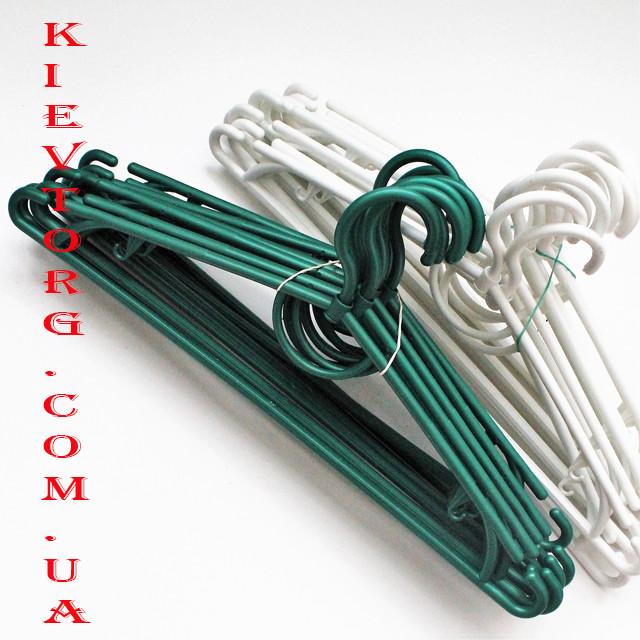 Вешалки плечики пластиковые 42 см зеленый металлик