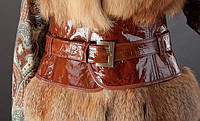 Кожаный пояс-корсет (широкий пояс), рыжий, лак . Объем талии 60-80 см. Цвет кожи и пряжки — в ассортименте.