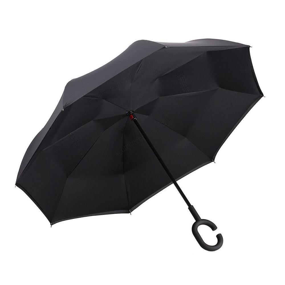 Вітрозахисний парасолька зворотного складання д110см 8сп WHW17133 Black