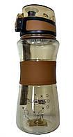 Спортивная бутылка поилка с силиконовой вставкой и ремешком R83331 Brown, фото 1