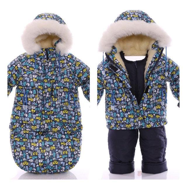 Зимний комбинезон-трансформер тройка для мальчика (конверт+курточка+полукомбинезон)  синий зоопарк 5cde6794bc083