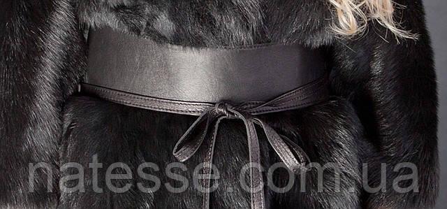 Пояс - кушак  кожаный черный, матовый.