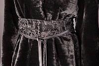 Пояс - кушак из черного каракуля, внутренняя сторона - кожа.