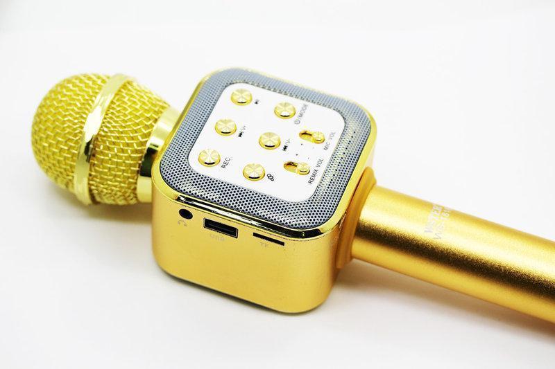 Беспроводной микрофон караоке bluetooth с чехлом WS1818 золотой