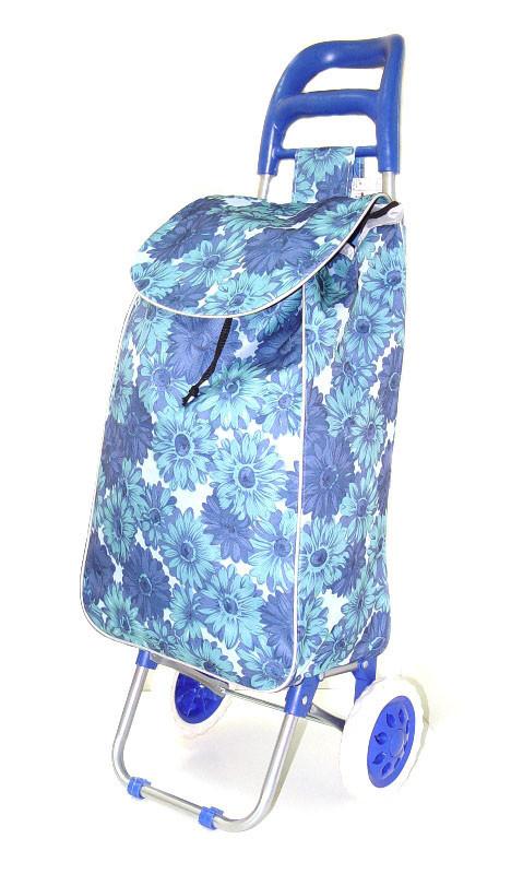 Тачка сумка з коліщатами кравчучка 96см MH-1900 сині квіти