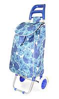 Тачка сумка з коліщатами кравчучка 96см MH-1900 сині квіти, фото 1
