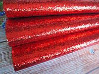 Экокожа (кожзам) с крупными блестками на тканевой основе, КРАСНЫЙ, 20х30 см, фото 1