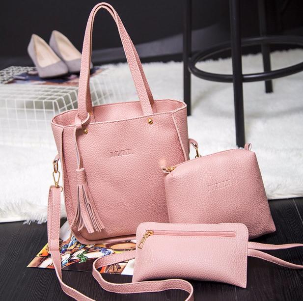 7e341059dcea Купить Сумку женскую набор 3 в 1 Luxury Розовую недорого в интернет ...