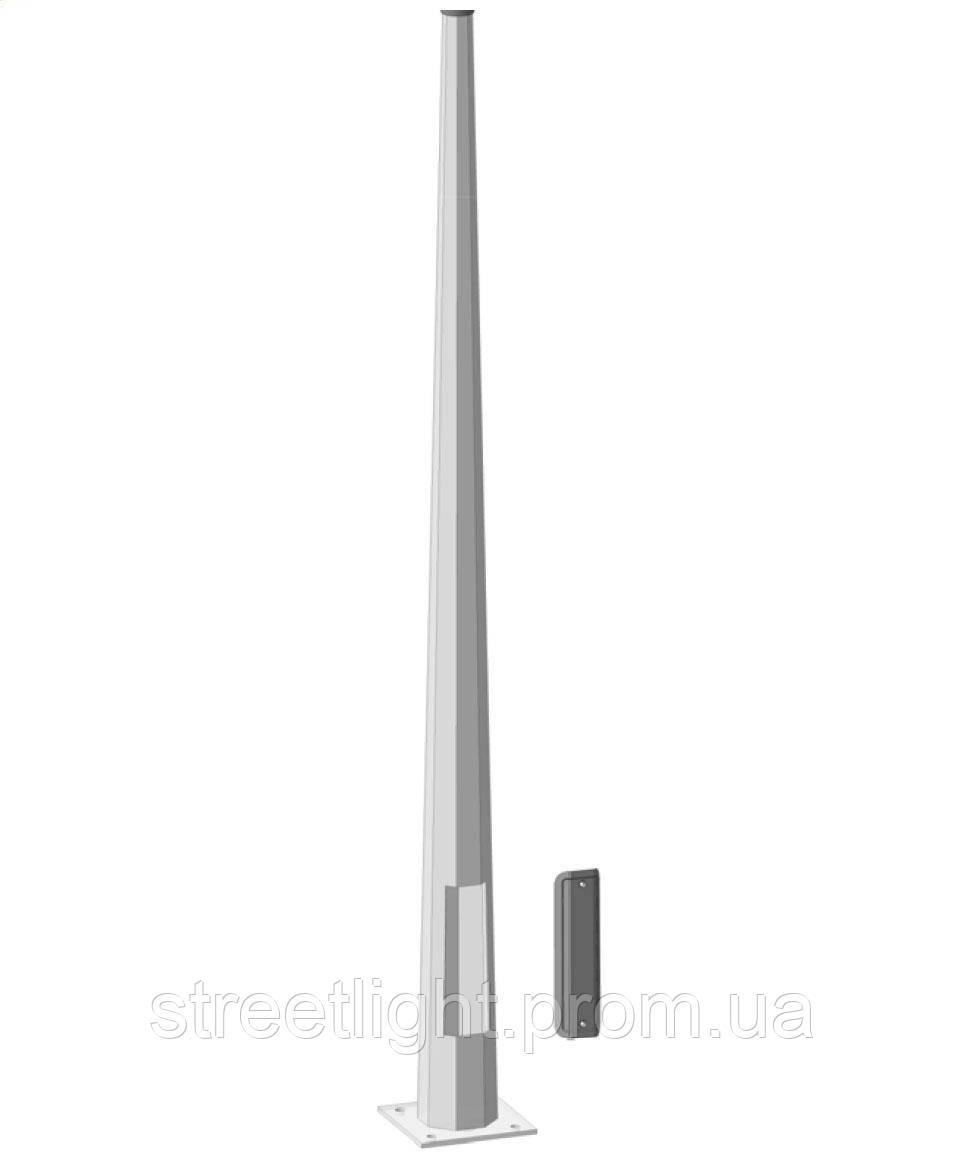 Оцинкованная металлическая опора высотою 6 метров диаметром 155*65 мм