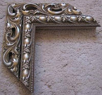 Деревянный багет для оформления рам серебро с бронзой. Рамы для зеркал и картин.
