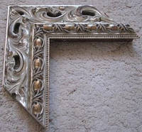 Деревянный резной багет для оформления рам (серебро). Рамы для зеркал и картин.