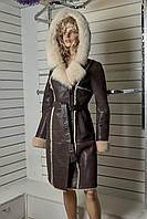 Дубленка,ТурцияTeri Lsather,натуральная,цвет темно-коричневая с капюшеном длина изделия 1м